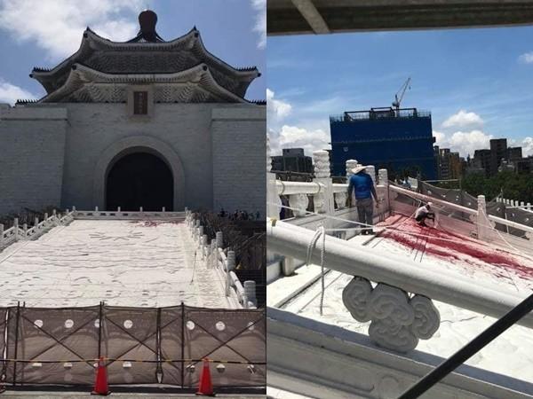 獨派青年潑漆中正紀念堂!修復工人136字淚控:1年辛勞2分鐘被毀