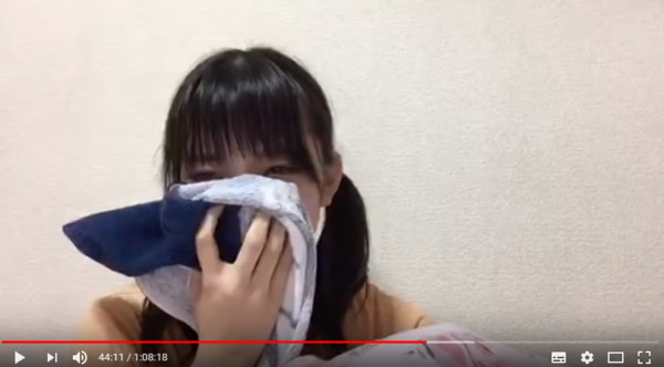 後藤萌咲直播痛哭10分鐘。(圖/翻攝自Youtube/프로듀스48 갤러리전용계정)