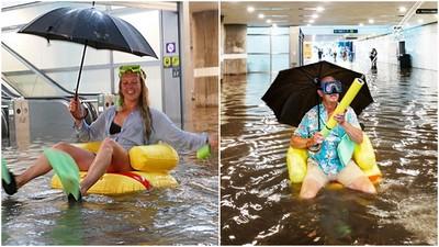 躺著玩、坐著玩! 瑞典豪雨地鐵淹 市民自帶泳圈耶耶耶耶耶