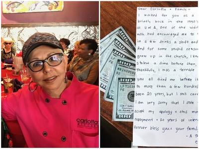 餐廳老闆收到3萬元 打開信一看..「對不起20年前我偷了錢!」