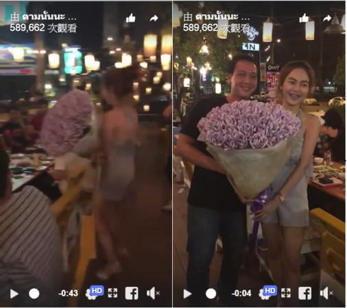 ▲泰國女大生送男友鈔票花當生日禮物。(圖/翻攝自ตามนั้นนะ Facebook)