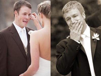 當新郎看見新娘的感人瞬間