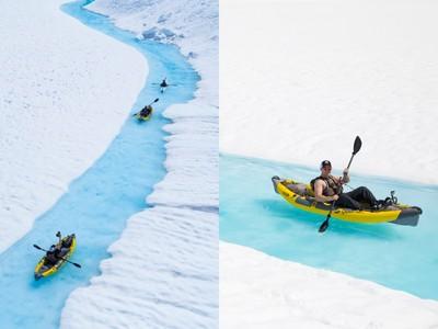 在冰川裡划船 是最棒消暑方式!
