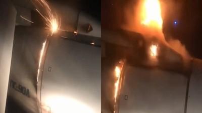 飛機「空中起火」乘客拍下驚險瞬間