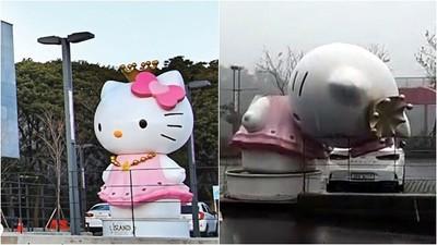 颱風蘇力強襲南韓濟州島 凱蒂貓瞬間被斬首 網:變成地獄啦