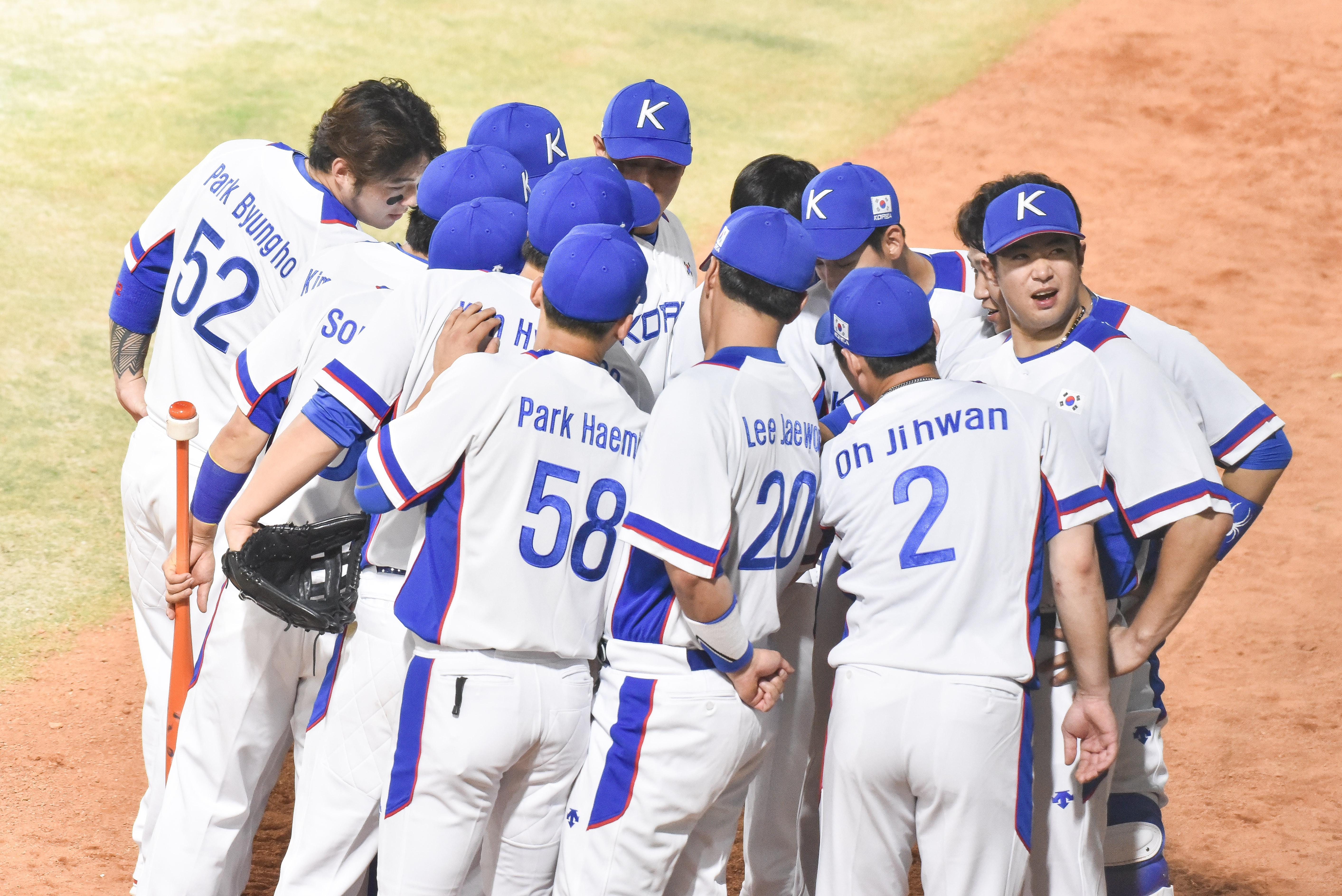 ▲▼2018雅加達亞運,棒球,韓國隊,韓國棒球代表隊。(圖/記者李毓康攝)