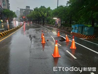 台南豪雨 東區長榮路路面塌陷