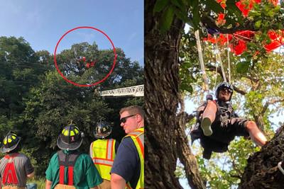 第一次單人跳傘竟卡21m樹上3hr!