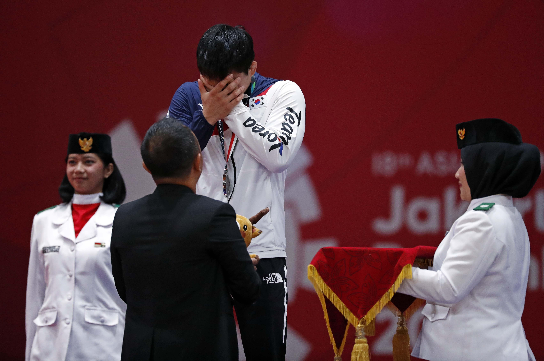 ▲▼南韓柔道選手安昌林亞運痛失金牌(圖/路透社)