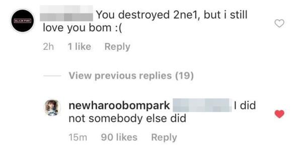 ▲粉絲留言「你毀了2NE1」!朴春看見了...6個字親自回應。(圖/翻攝自IG/newharoobompark)