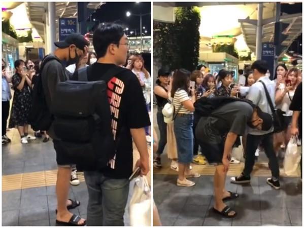 ▲EXO燦烈在機場被粉絲踩爛鞋子。(圖/翻攝自秒拍)