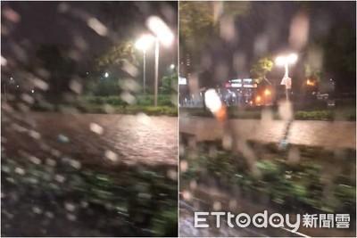 豪雨突襲2hrs!大安森林公園淪運河