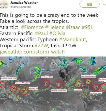北半球「9颱連線」繞地球一圈。(圖/翻攝自推特/Jamaica Weather)