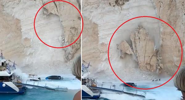 ▲岩壁掉下瞬間,下面還有遊客。(圖/翻攝自Instagram/nathelie0521)