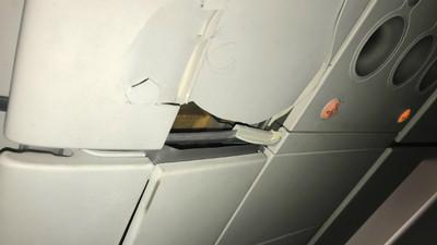 廉航變大怒神! 甩飛乘客「頂破天花板」髮絲驚悚黏在上頭