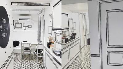 黑白線條撐起這間店 韓國咖啡館也走「2D風」 一秒栽進漫畫世界