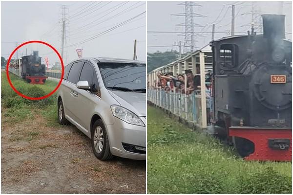 ▲一名轎車直接停在觀光列車鐵軌上,引發眾怒。(圖/翻攝自爆料公社)