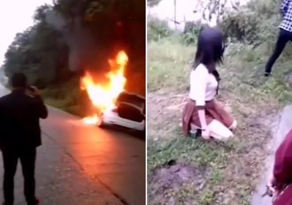 火燒車女駕駛先逃,忘開車鎖目睹老公、兒女燒死跪地痛哭。(圖/翻攝自微博/鳳凰網視頻)