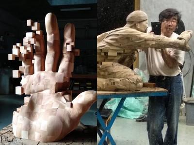 台灣木雕大師紅遍全世界!韓旭東獨創「畫素有問題」系列作品
