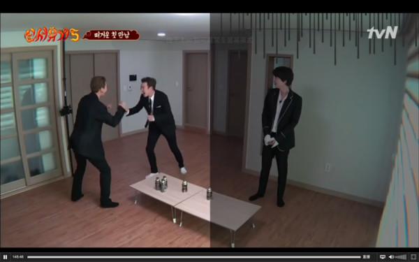 ▲▼宋旻浩看到P.O出演,兩人興奮地抱在一起打招呼。(圖/翻攝自tvN)