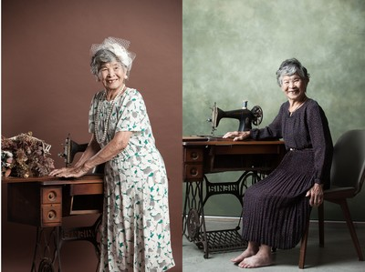 笑開了!96歲失智嬤親穿手縫洋裝 拍照問:這誰甲水?