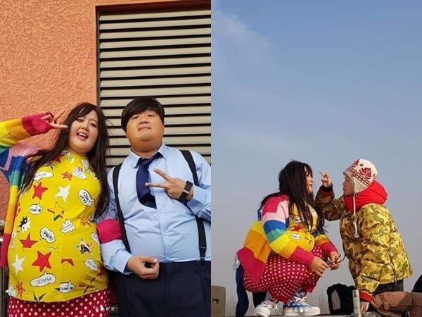 ▲Clara為了拍電影,利用特殊化妝扮成100kg胖子的模樣。(圖/翻攝自Clara Instagram)