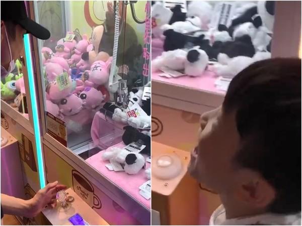 ▲辰亦儒玩夾娃娃機,卻被身邊小孩diss讓他超糗。(圖/翻攝自辰亦儒Instagram)