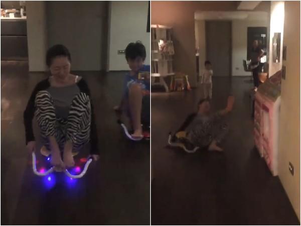 ▲小S跟外甥軋車慘摔,意外讓大姐魔性笑聲曝光。(圖/翻攝自小S的Instagram)