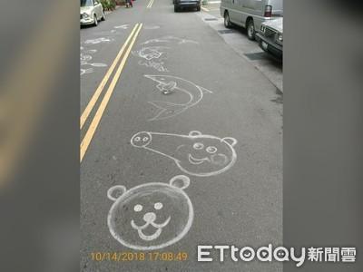 小叮噹、凱蒂貓路面塗鴉 可愛但違法