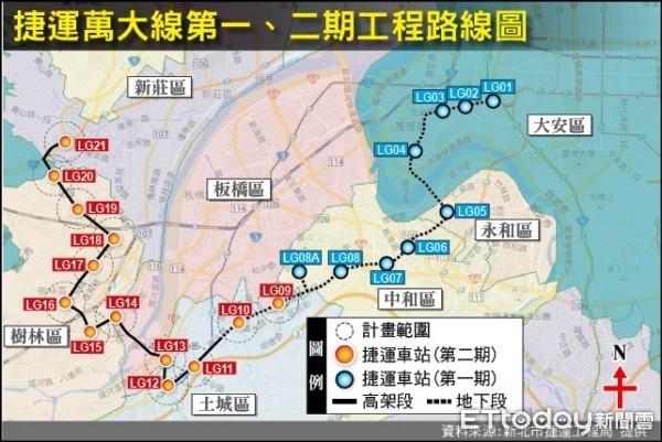 ▲▼萬大線二期工程路線圖。(圖/捷運局提供)