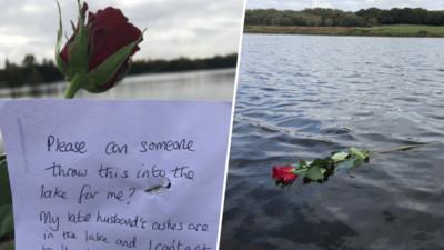 可以幫我把玫瑰放到湖中嗎?學生湖邊撿到字條 幾句話讓網友淚崩