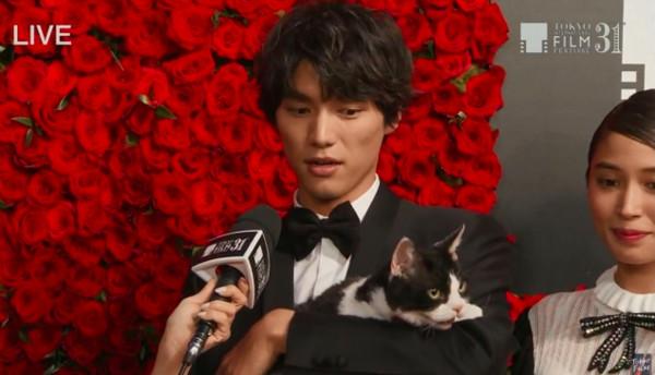 ▲▼福士蒼汰抱貓走紅毯。(圖/翻攝自東京影展官方推特、Youtube)
