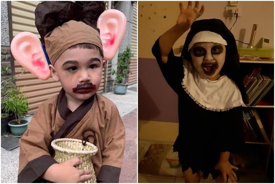 ▲萬聖節到來,家長們紛紛絞盡腦汁幫小孩扮裝成獨一獨二的模樣。(圖/翻攝自爆料公社、爆廢公社)