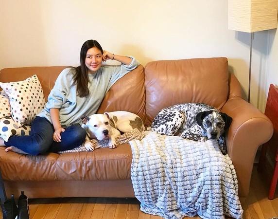 ▲樂基兒近日遛狗放風,被拍到大腹便便,鬆口有孕3個多月。(圖/翻攝自樂基兒Instagram)