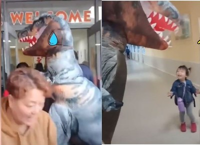 爸爸穿恐龍裝接愛女「背後原因暖爆」