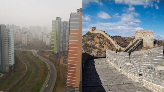 ▲▼南韓霧霾&北京藍天(圖/翻攝自Instagram@hwa__seon2、arnaudbalo)