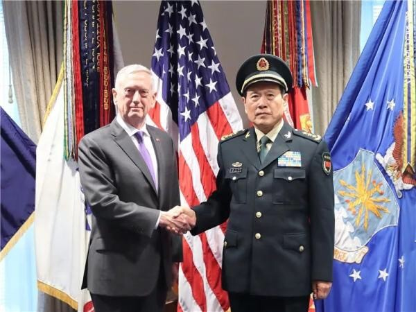 ▲中國國防部長魏鳳和於華盛頓當地時間9日下午,會見美國國防部長馬提斯。(圖/國防發布)