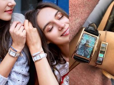 夢幻珠寶盒內藏方形琉璃錶+手鍊