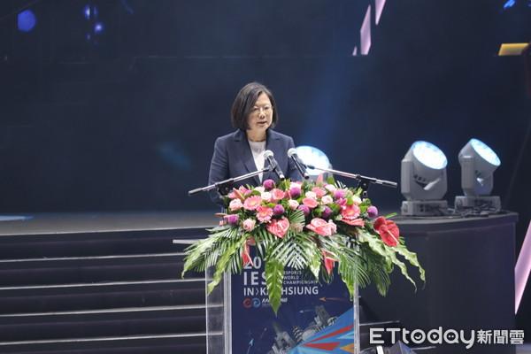 「我們不會躺分」總統蔡英文為IESF第二日開幕。(圖/記者周之鼎攝)