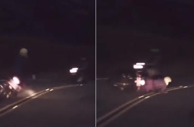 騎士五指山逆向超車「急煞撞一團」