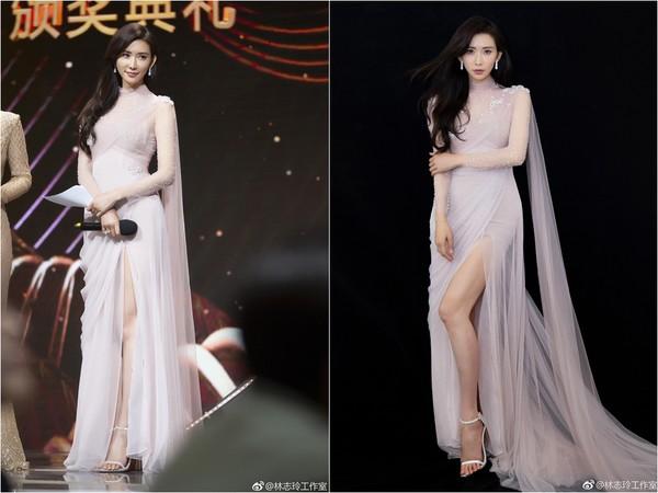 ▲林志玲之後換了一套禮服,仙女樣強勢回歸。(圖/取自「林志玲工作室」微博)