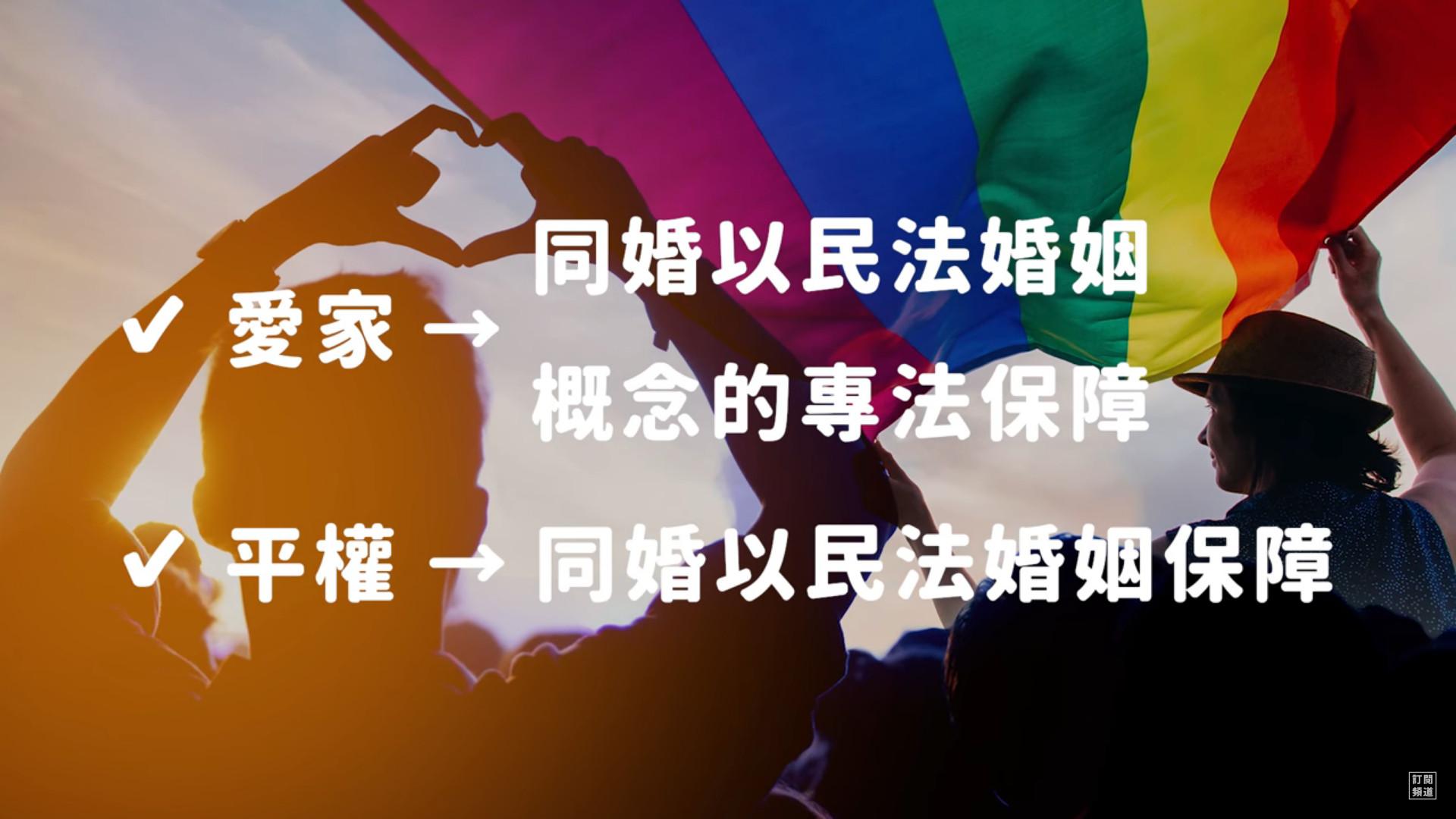▲▼愛家團體的兩案如果通過,將會使同志婚姻用一個「包含民法婚姻中所有概念的專法」來保障;而相對的,平權團體的提案通過,則會加強同婚以民法保障的可能。(圖/翻攝自志祺七七Youtube)