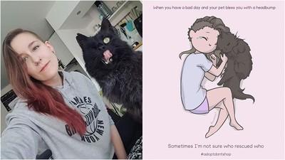 養貓的都懂!插畫家畫出「奴才生活」的甜蜜與心酸:我是被牠救贖的人