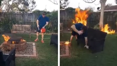 燒烤變縱火!莽漢耍笨提油澆火堆 兩秒後見證什麼叫「後院起火」