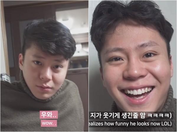 男友頭髮剪壞,她氣到哭出來。(圖/翻攝自Youtube/성수커플臉書)