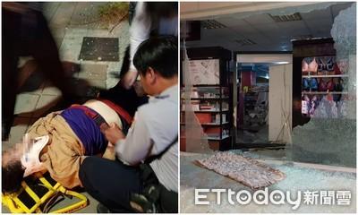 影/人妻學騎機車 突撞進美妝店「衝破玻璃」