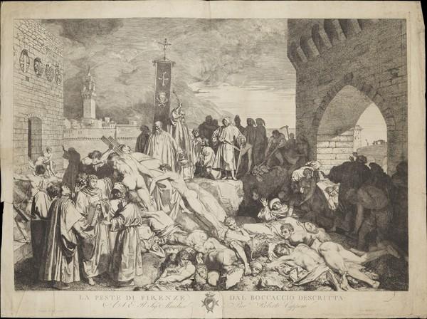 ▲▼中世紀時黑死病肆虐,1348年佛羅倫斯的瘟疫。(圖/翻攝自維基百科)