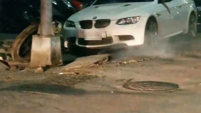 影/高雄深夜氣爆!「驚天碰」炸裂路面 BMW慘遭波及