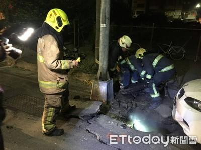 高雄發生人孔蓋氣爆 台電:電線起火引燃沼氣