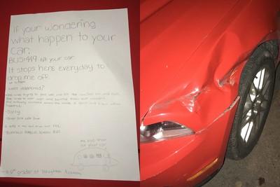 他回家驚見車子被A到 女童超正字跡告狀